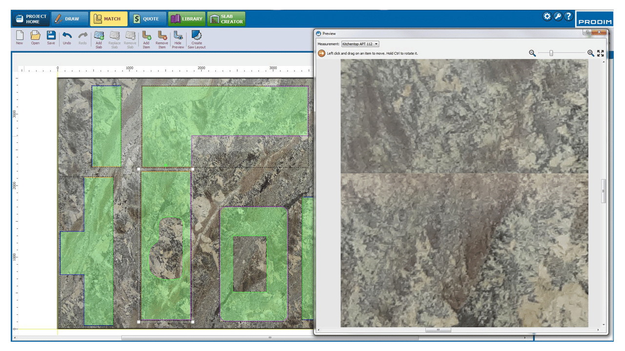 Schermafbeelding - Prodim Factory software - Slab matching