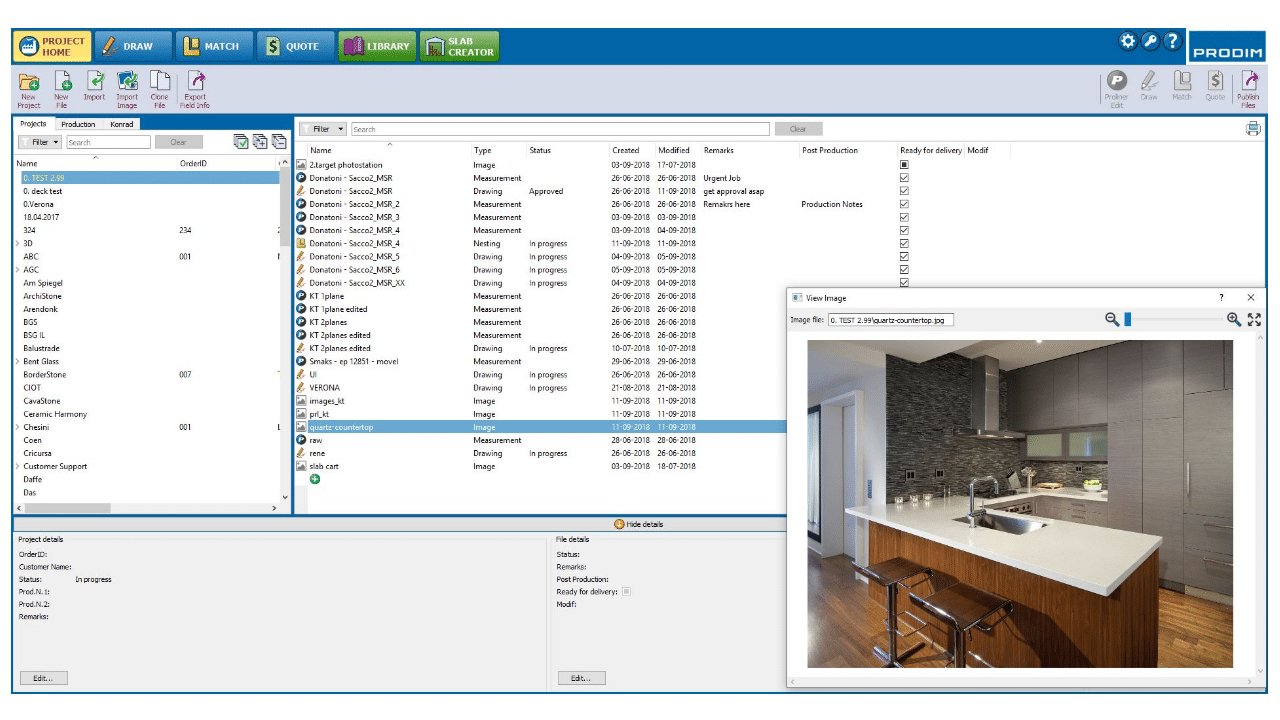 Schermafbeelding - Prodim Factory software - Project Home