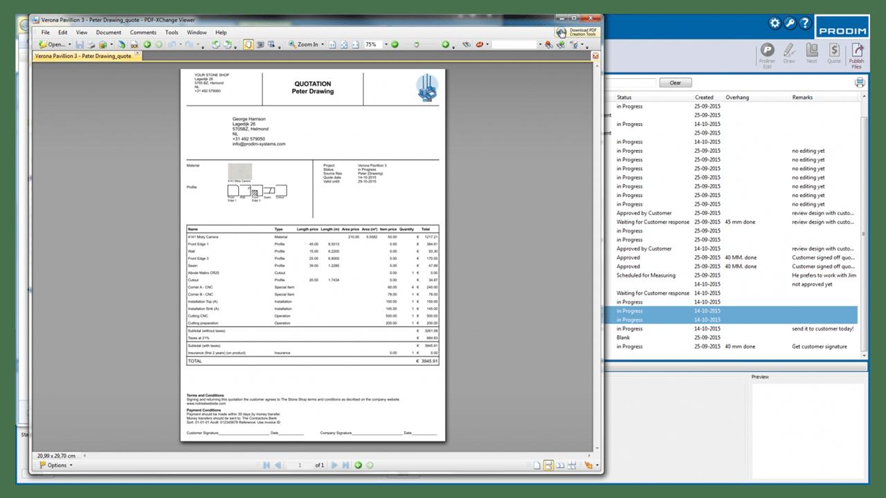 Schermafbeelding - Prodim Factory software - Quote