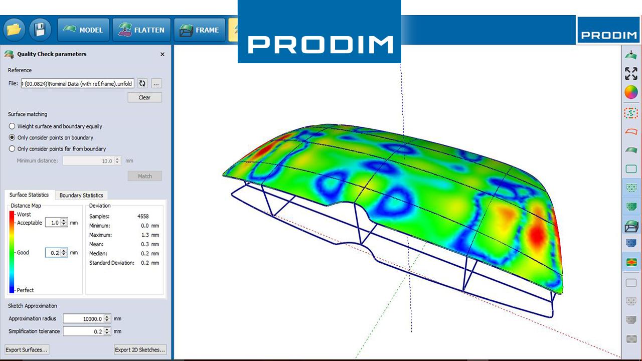 Prodim - Complete oplossingen voor digitaal templaten – Toepassingsgerichte software per industrie – Schermafbeelding van Prodim Bent Glass software