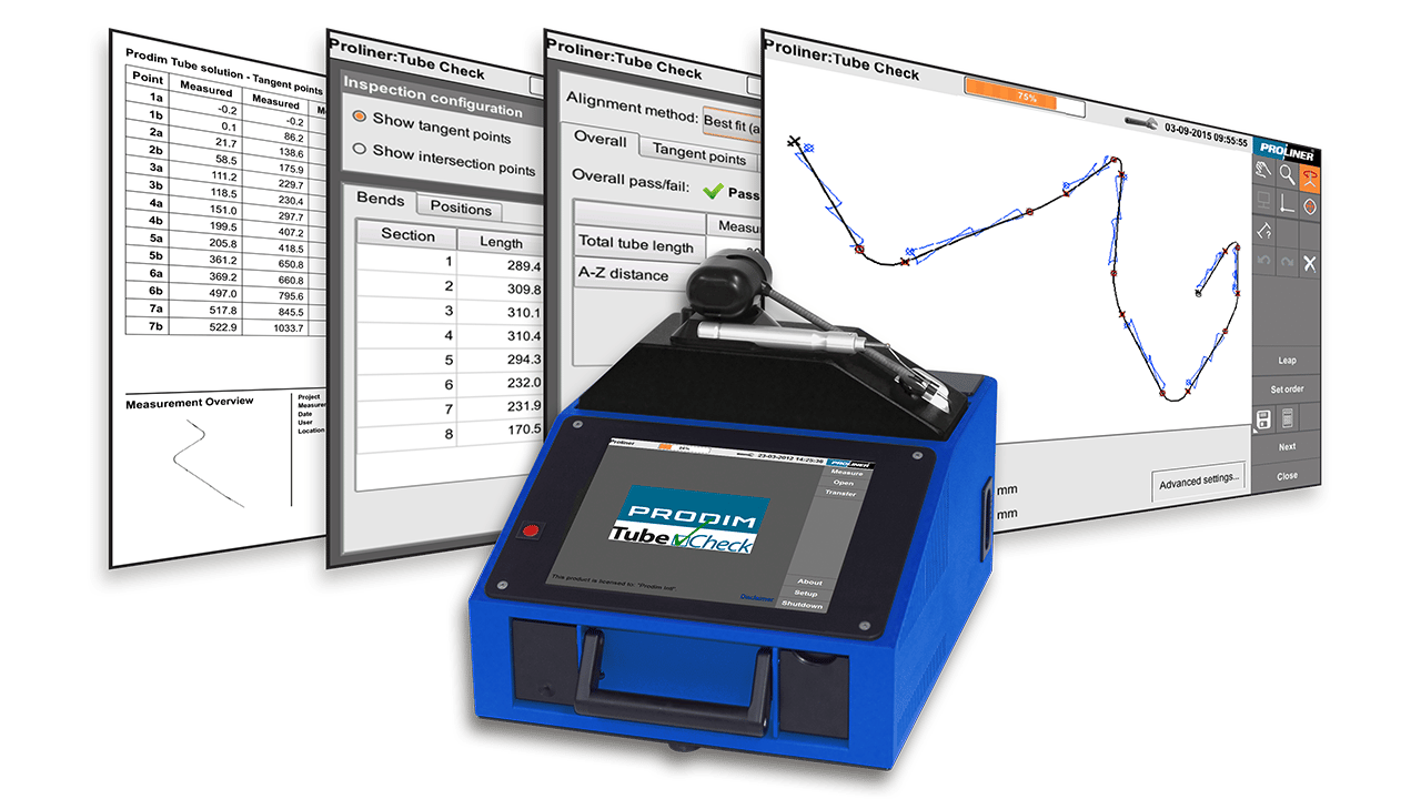 Schermafbeeldingen van Prodim TubeCheck software in combinatie met een Proliner 10IS