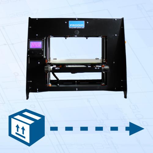 Knop – Ga naar de webpagina met instructies voor het opsturen van uw Prodim 3D Printer