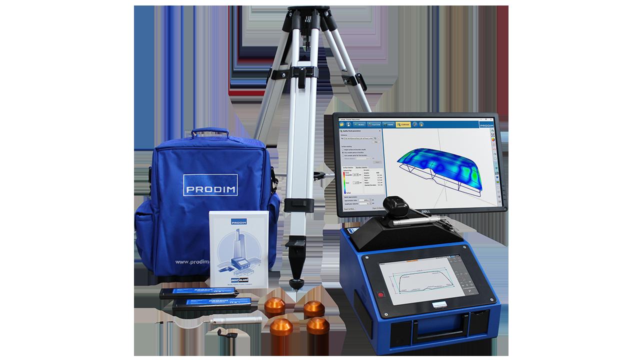 Afbeelding van het Prodim Bent Glass pakket met een Proliner Tracker van de Industry Series en Prodim Bent Glass softwareoplossingen