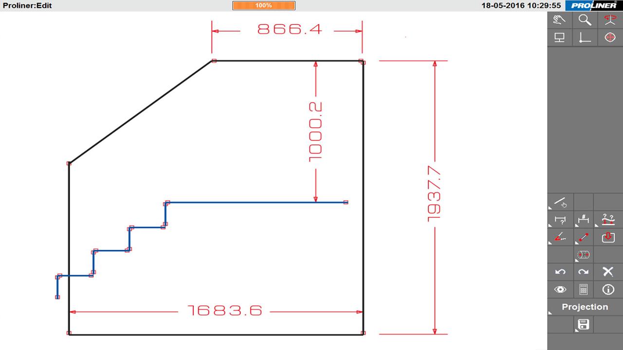 Prodim – Oplossingen voor glasconstructies – Balustrade - Digitaal template gemaakt met de Proliner